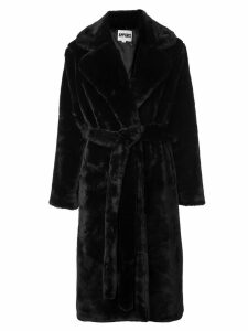 Apparis long belted coat - Black