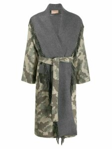Twin-Set shawl camo coat - NEUTRALS
