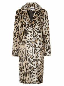 Apparis long leopard-print jacket - Neutrals