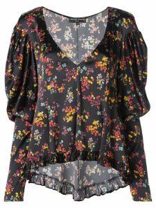 Caroline Constas floral low neck silk blouse - Black
