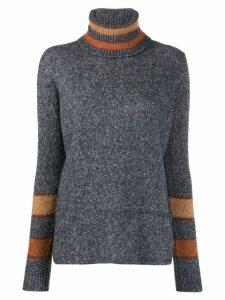 Eleventy stripe-trimmed turtleneck sweater - Grey