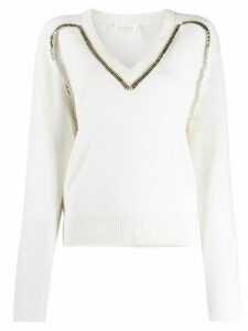 Chloé embellished knitted jumper - White