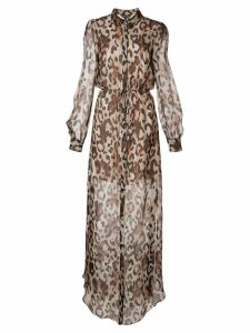Rachel Zoe sheer leopard-print dress - Brown