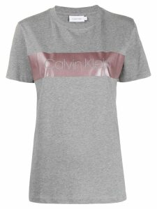 Calvin Klein metallic-band logo T-shirt - Grey