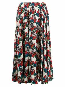 Valentino graphic print pleated skirt - Blue