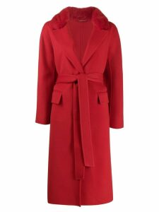 Ermanno Scervino fur collar belted coat - Red