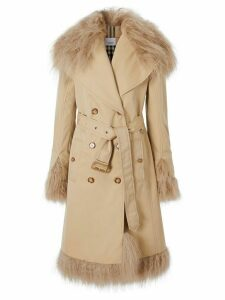 Burberry shearling-trimmed trench coat - Neutrals
