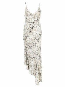 Nicholas snakeskin-print asymmetric dress - White