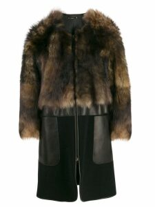 Giorgio Armani collarless sheepskin coat - Brown