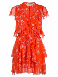 Nicholas floral print ruffle mini dress - Orange