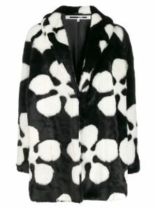 McQ Alexander McQueen flower faux-fur coat - Black
