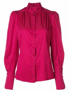 Isabel Marant micro-pattern frill neck blouse - Pink
