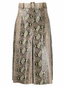 Tommy Hilfiger A-line snakeskin print skirt - Green