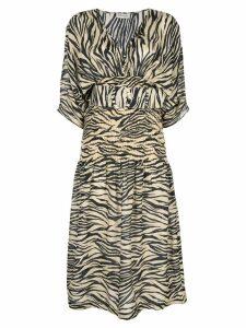 Nicholas zebra print midi dress - Brown