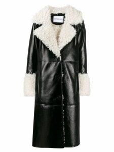STAND STUDIO faux shearling midi coat - Black