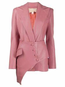Matériel Asymmetric faux leather blazer - Pink