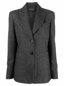 Erika Cavallini single-breasted wide-lapel blazer - Black