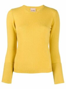 Nude layered sleeve fine knit sweater - Yellow