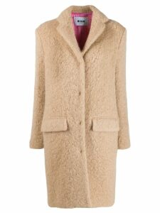 MSGM oversized teddy coat - NEUTRALS