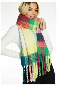 Quiz Multicoloured Check Knit Scarf