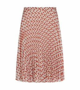 TB Monogram Print Pleated Skirt