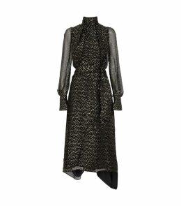 Denna Metallic High-Neck Silk Dress