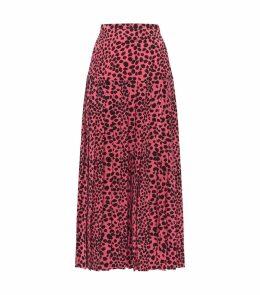 Tina Silk Leopard Print Midi Skirt