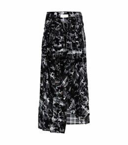 Flocked Sleeve-Tie Skirt