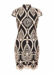 Womens *Quiz Black Embellished High Neck Dress, Black