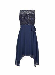 Womens **Billie & Blossom Petite Navy Lace Chiffon Midi Dress- Blue, Blue