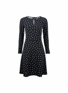 Womens Black Spot Print Keyhole Fit And Flare Dress, Black