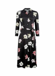 Womens Black Floral Print Midi Shirt Dress- Black, Black