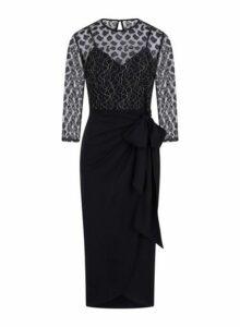 Womens **Little Mistress Black Lace Midi Dress, Black