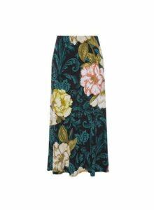 Womens Multi Colour Large Floral Print Midi Skirt- Multi Colour, Multi Colour