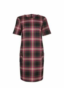 Womens Multi Coloured Check Print Pocket Shift Dress- Red, Red