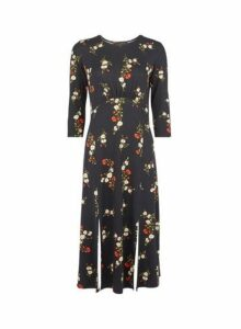 Womens Black Floral Print Empire Midi Shift Dress- Red, Red