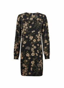 Womens Black Floral Print Shift Dress, Black