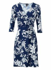 Womens *Izabel London Navy Tie Front Floral Print Wrap Dress- Navy, Navy
