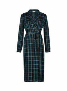 Womens **Tall Blue Check Print Wrap Shirt Dress, Blue