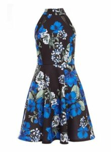 Womens *Quiz Multi Coloured Floral Print High Neck Skater Dress- Multi, Multi