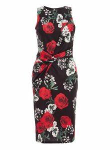 Womens *Quiz Multicolour Rose Print Knot Front Dress, Multi