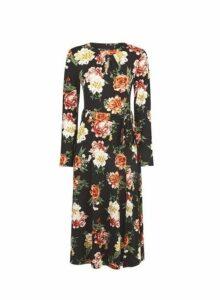 Womens Floral Keyhole Midi Dress- Black, Black