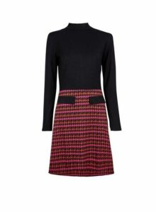 Womens Black And Pink 2In1 Dress- Pink, Pink