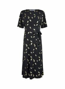 Womens **Tall Black Foil Feather Print Midi Dress, Black