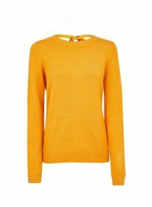 Womens **Vila Yellow Tie Back Jumper- Yellow, Yellow