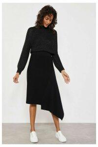 Womens Mint Velvet Black Asymmetric Hem Knitted Skirt -  Black