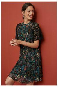 Womens Next Floral Print Lace Insert Pleat Dress -  Black