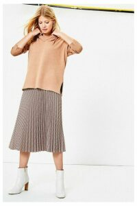 Womens Oasis Grey Check Pleated Midi Skirt -  Grey