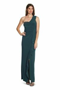 Womens Adrianna Papell Blue One Shoulder Jersey Gown -  Blue