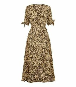 AX Paris Leopard Print Tie Sleeve Wrap Dress New Look